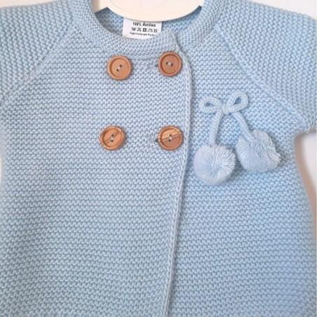 Chaqueta lana bebe blanca lazos