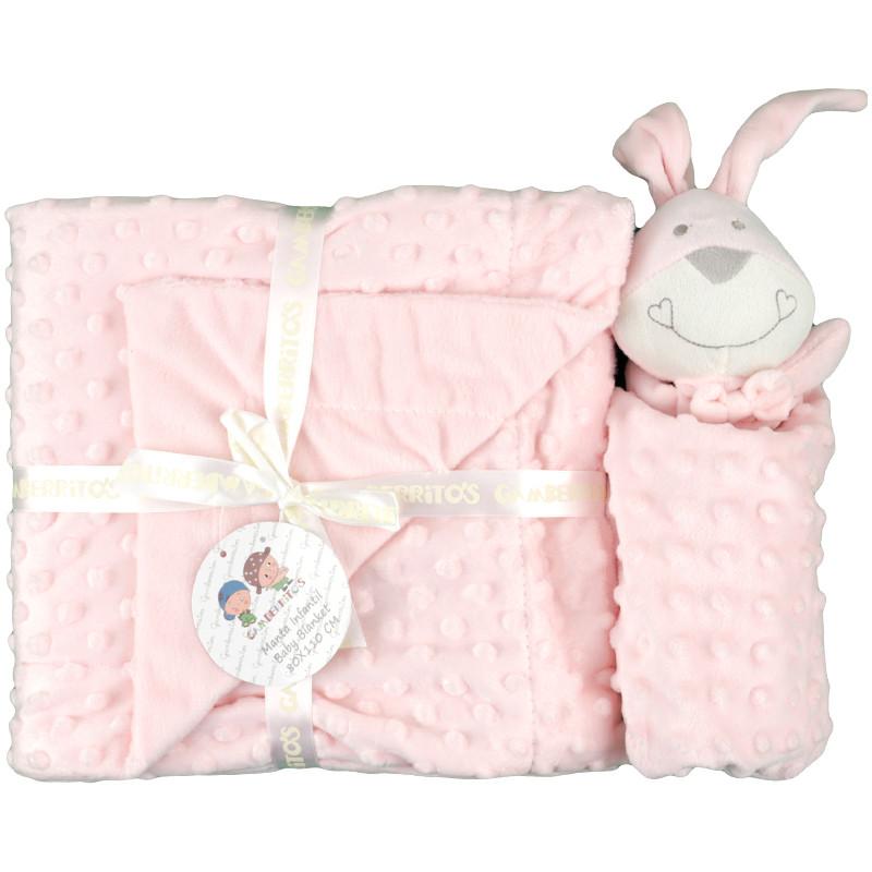Pack dou dou y mantita bebe gamberritos color rosa