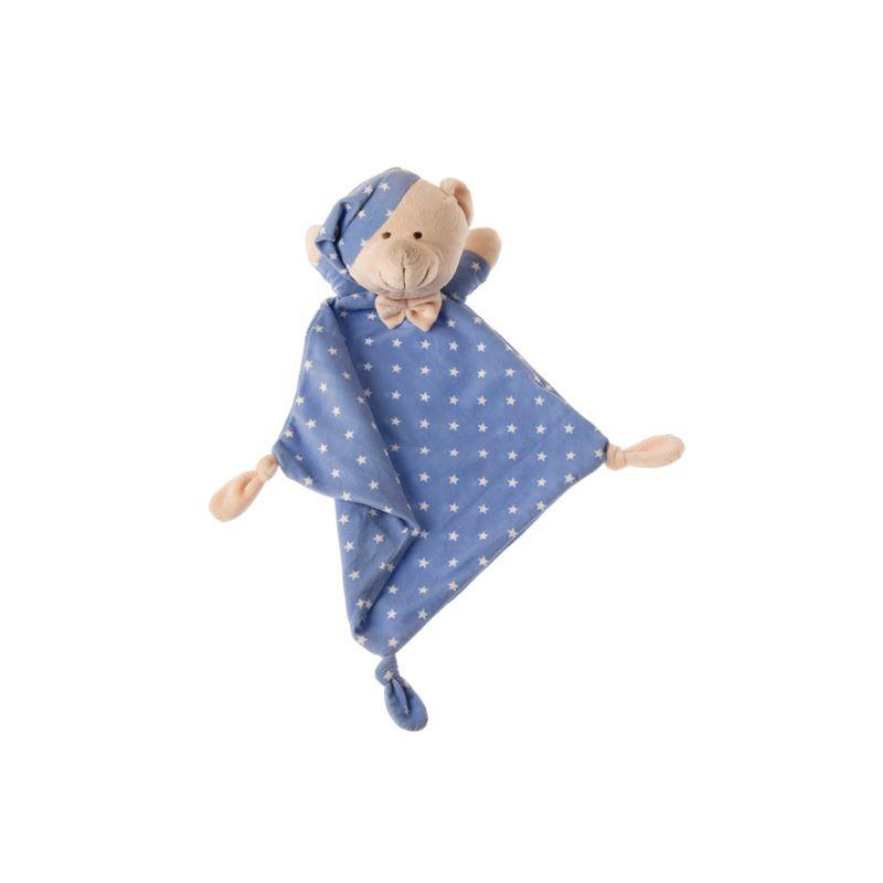 Dou-dou peluche bebe con manta topitos azul