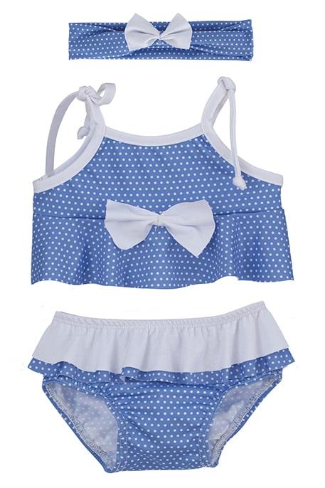 Bikini bebe niña con topitos azules